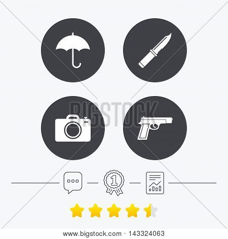 Gun weapon icon.Knife, umbrella and photo camera signs. Edged hunting equipment. Prohibition objects. Chat, award medal and report linear icons. Star vote ranking. Vector