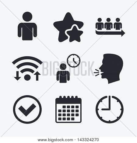 Queue icon. Person waiting sign. Check or Tick and time clock symbols. Wifi internet, favorite stars, calendar and clock. Talking head. Vector