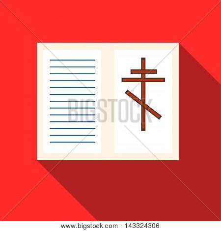 Eulogy icon in flat style with long shadow. Death symbol