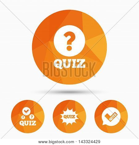 Quiz icons. Speech bubble with check mark symbol. Explosion boom sign. Triangular low poly buttons with shadow. Vector