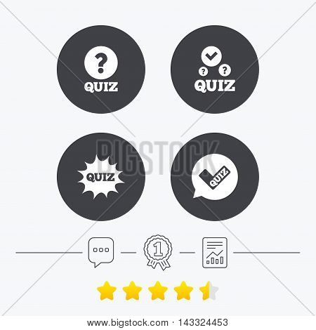 Quiz icons. Speech bubble with check mark symbol. Explosion boom sign. Chat, award medal and report linear icons. Star vote ranking. Vector