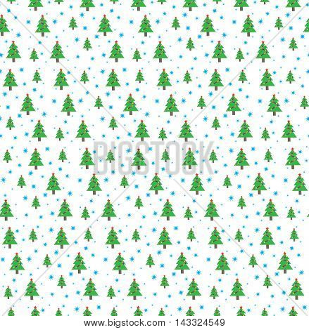 Christmas tree with garland and snowflakes on white background. Seamless pattern