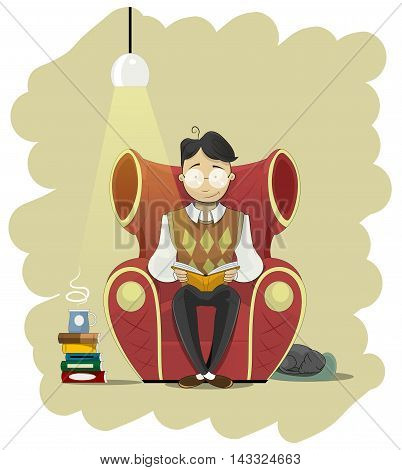 Man in glasses sits in chair and read book. Behind chair sleeping cat. Vector illustration