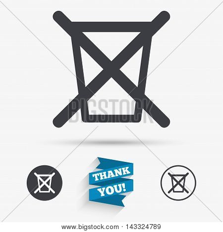 Do not throw in trash. Recycle bin sign icon. Flat icons. Buttons with icons. Thank you ribbon. Vector