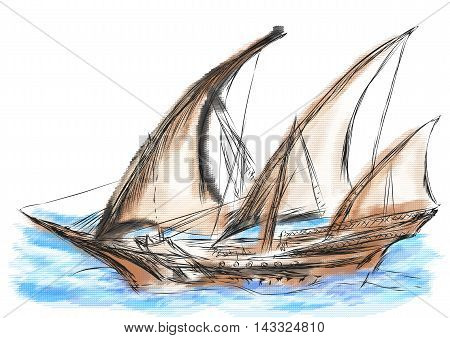 pirate ship. old sailing ship in the sea