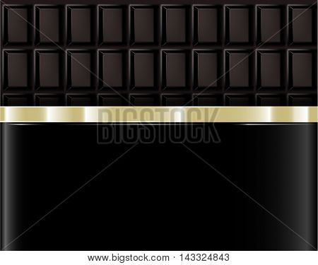 Realistic chocolate bar with foil packaging. Vector background.