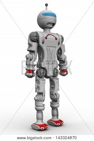 Humanoid robot. Humanoid robot standing on a white surface. Isolated. 3D Illustration