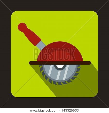 Circular saw icon in flat style with long shadow. Tool symbol