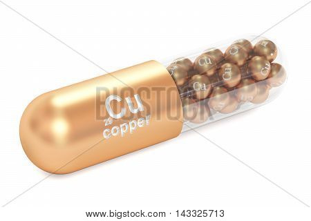 Capsule with copper Cu element Dietary supplement 3D rendering isolated on white background