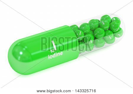 Capsule with iodine I element Dietary supplement 3D rendering isolated on white background