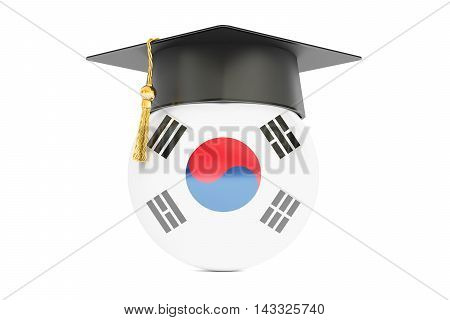 education and study in South Korea concept 3D rendering isolated on white background