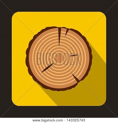 Stump icon in flat style with long shadow. Tree symbol