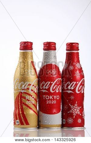 Kuala Lumpur,Malaysia,8th Aug 2016,collection of  Coca Cola olympic rio 2016 and tokyo 2020  aluminium bottle. Coca Cola is the official product