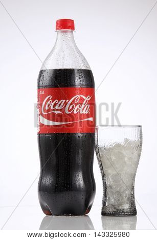 Kuala Lumpur Malaysia,18th Aug 2016, 1.5 litre cocacola drinks on the white background