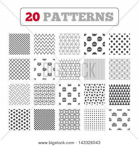 Ornament patterns, diagonal stripes and stars. Sale speech bubble icon. Black friday gift box symbol. Big sale shopping bag. Low price arrow sign. Geometric textures. Vector