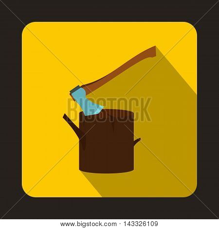 Stump with axe icon in flat style with long shadow. Felling symbol