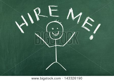 Stick figure on chalkboard saying hire me