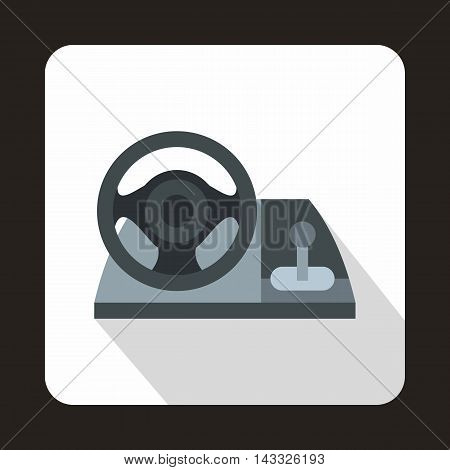 Gaming steering wheel icon in flat style with long shadow. Play symbol