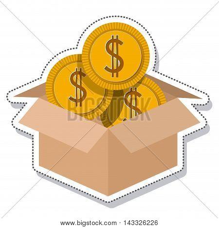 box carton coins founds vector illustration design