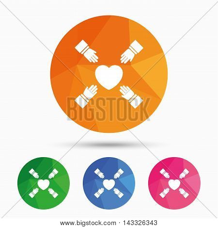 Hands reach for heart sign icon. Save life symbol. Triangular low poly button with flat icon. Vector