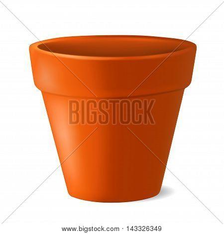 Realistic empty flowerpot. Vector illustration isolated on white