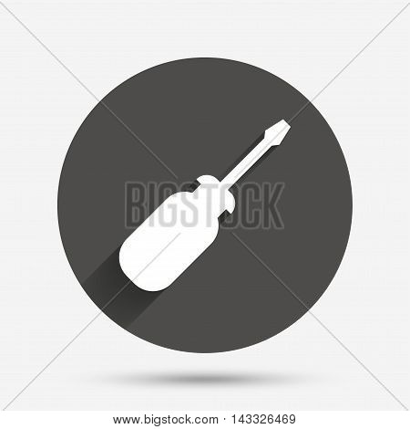 Screwdriver tool sign icon. Fix it symbol. Repair sign. Circle flat button with shadow. Vector