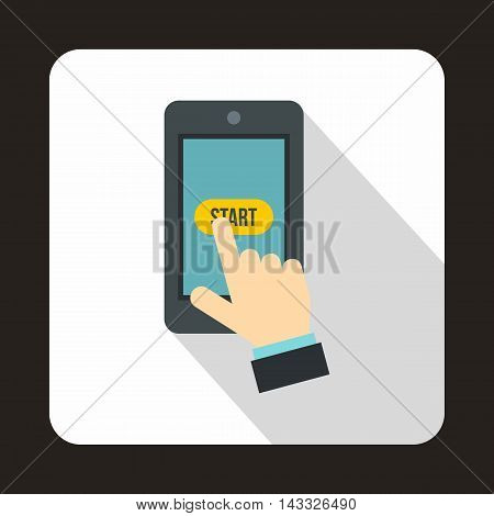 Hand presses on start button in smartphone icon in flat style with long shadow. Gadget symbol