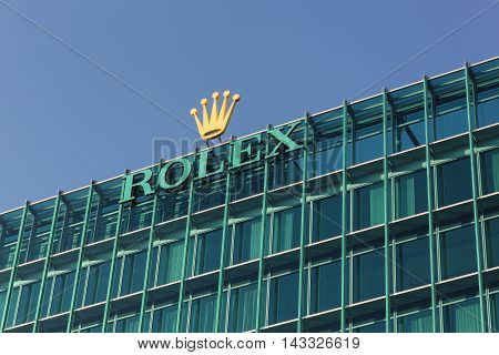 Geneva, Switzerland - August 14, 2016:  Rolex offices and heaquarter in Geneva. Rolex manufacture, distribute and service wristwatches sold under the Rolex and Tudor brands