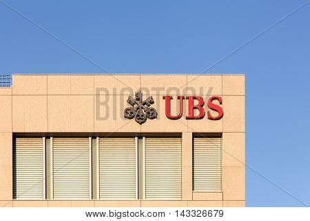 Geneva, Switzerland - August 14, 2016: UBS offices. UBS is a Swiss global financial services company. UBS is the largest bank in Switzerland and co-headquartered in Zurich and Basel
