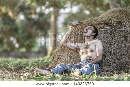 Alcoholism : Lonely and desperate drunk man