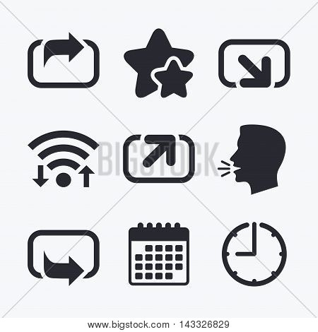 Action icons. Share symbols. Send forward arrow signs. Wifi internet, favorite stars, calendar and clock. Talking head. Vector