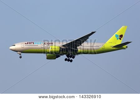Jin Air Boeing 777-200 Airplane Seoul Incheon International Airport