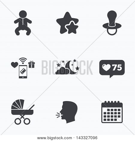 Moon and stars symbol. Baby infants icon. Buggy and dummy signs. Child pacifier and pram stroller. Flat talking head, calendar icons. Stars, like counter icons. Vector