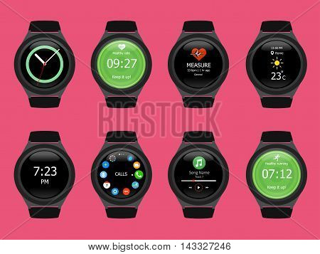 Smart watches wearable collection computer new technology. Vector Illustration. Pink background.