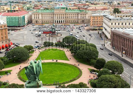 Top view from the colonnade of St. Isaac's Cathedral, St.Petersburg, Russia.
