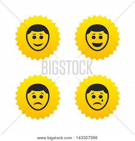 Human smile face icons. Happy, sad, cry signs. Happy smiley chat symbol. Sadness depression and crying signs. Yellow stars labels with flat icons. Vector