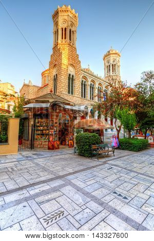 ATHENS, GREECE - AUGUST 18, 2016: Church in the city center of Athens near Kotzia square on August 18, 2016.
