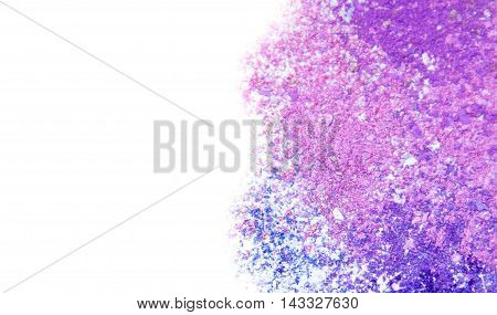 Eyeshadow Cosmetic Powder Scattered Copy Space. various set isolated on white background. The concept of fashion and beauty industry. Abstract place for text texture mineral makeup