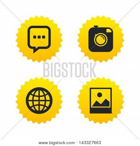 Social media icons. Chat speech bubble and world globe symbols. Hipster photo camera sign. Landscape photo frame. Yellow stars labels with flat icons. Vector