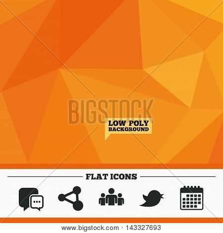 Triangular low poly orange background. Social media icons. Chat speech bubble and Bird chick symbols. Human group sign. Calendar flat icon. Vector