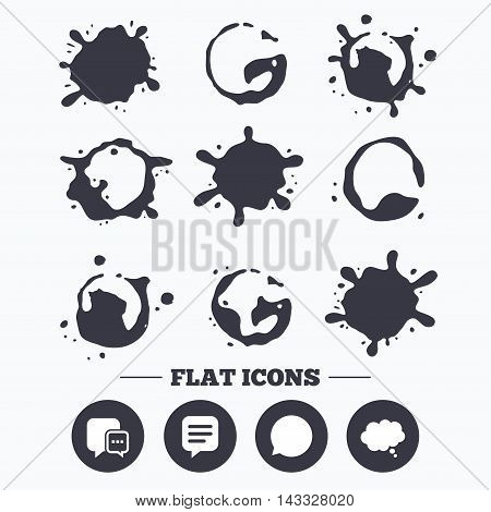 Paint, coffee or milk splash blots. Chat icons. Comic speech bubble signs. Communication think symbol. Smudges splashes drops. Vector