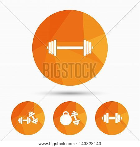 Dumbbells sign icons. Fitness sport symbols. Gym workout equipment. Triangular low poly buttons with shadow. Vector