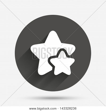 Star icon. Favorite sign. Best rated symbol. Circle flat button with shadow. Vector