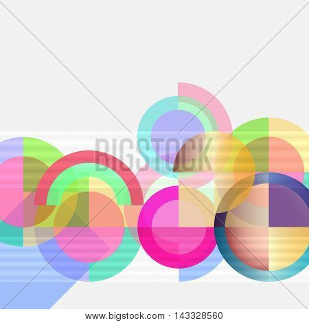 Geometric design abstract background - multicolored bright circles
