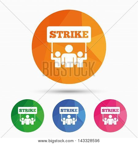 Strike sign icon. Group of people symbol. Industrial action. People holding protest banner. Triangular low poly button with flat icon. Vector