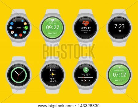 Smart watches wearable collection computer new technology. Vector Illustration. Yellow background.