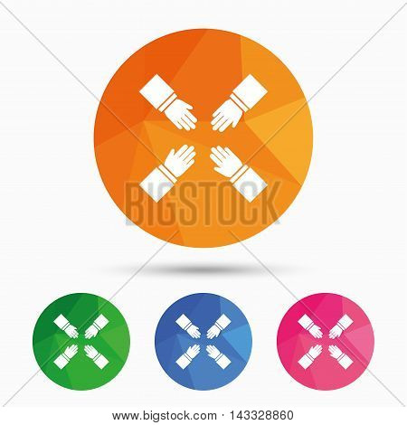 Teamwork sign icon. Helping Hands symbol. Group of employees working together. Triangular low poly button with flat icon. Vector