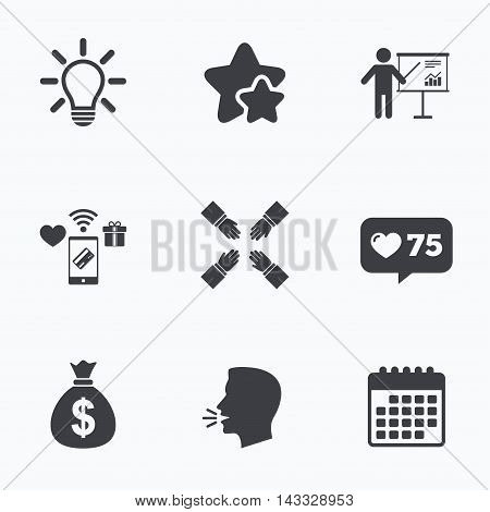 Presentation billboard icon. Dollar cash money and lamp idea signs. Man standing with pointer. Teamwork symbol. Flat talking head, calendar icons. Stars, like counter icons. Vector