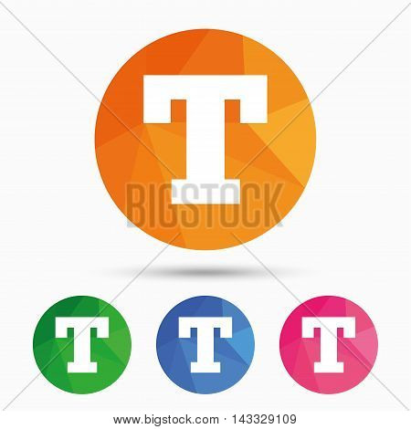 Text edit sign icon. Letter T button. Triangular low poly button with flat icon. Vector