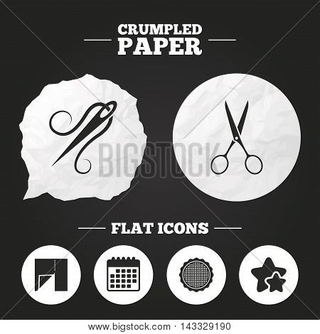 Crumpled paper speech bubble. Textile cloth piece icon. Scissors hairdresser symbol. Needle with thread. Tailor symbol. Canvas for embroidery. Paper button. Vector